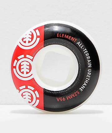 Element Section 52mm 95a Black & Red Skateboard Wheels