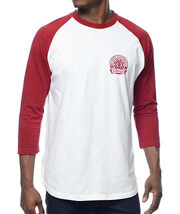Element Southpaw White & Maroon Baseball T-Shirt