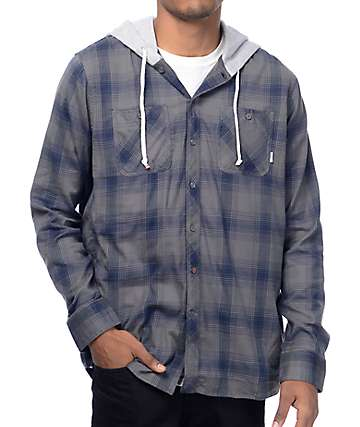Element Turner Stone Grey Hooded Flannel Shirt
