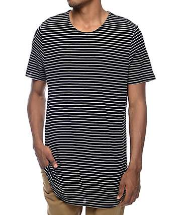 Elwood Black & White Stripe Thermal Tall T-Shirt