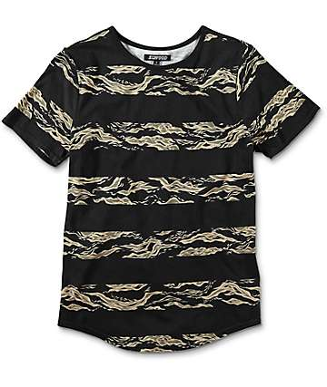 Elwood Boys Camo Stripe Curved Hem Black T-Shirt