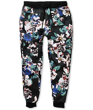 Elwood Checker Floral Fleece Skinny Jogger Pants