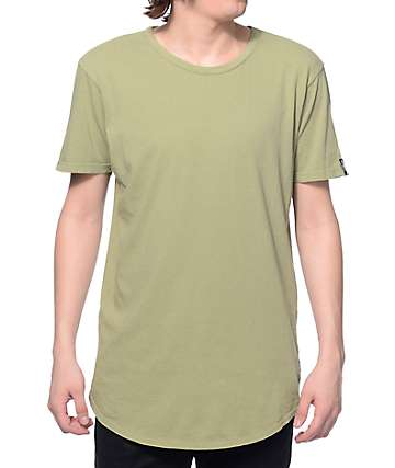 Elwood Curved Hem Light Olive Tall T-Shirt