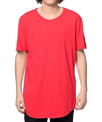 Elwood Curved Hem Red Tall T-Shirt