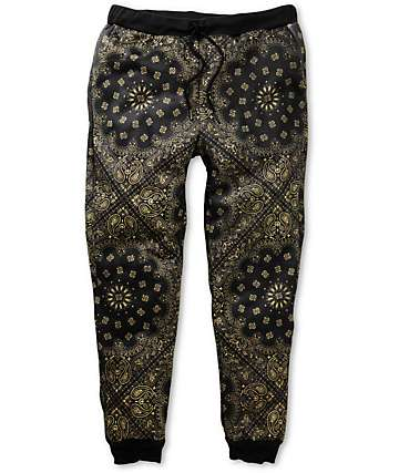 Elwood Gold Bandana Sublimated Skinny Jogger Pants