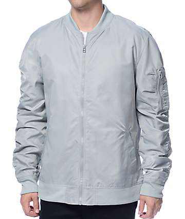 Elwood Light Grey Nylon Bomber Jacket