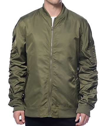 Elwood Military Green Nylon Bomber Jacket