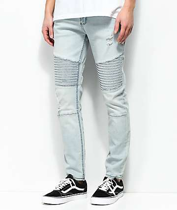 Elwood Moto Indigo Destroyed Denim Jeans