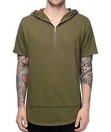 Elwood Olive Terry Short Sleeve Zip Up Hoodie