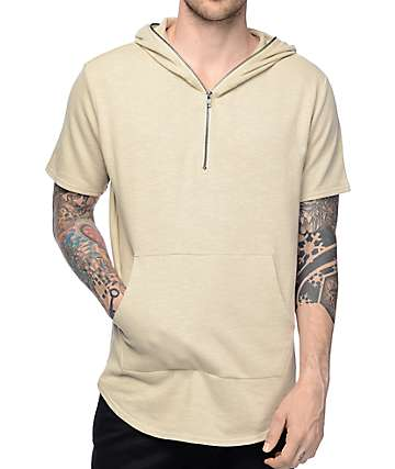 Elwood Sand Terry Short Sleeve Zip Up Hoodie