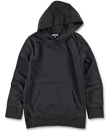 Elwood Side Paneled sudadera negra con capucha para niños