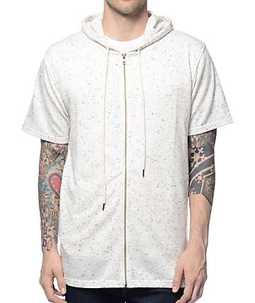 Elwood Spek White Short Sleeve Zip Up Hoodie