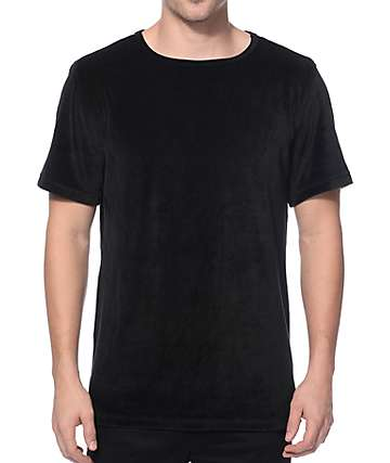Elwood Velour Black Split Hem Tall T-Shirt
