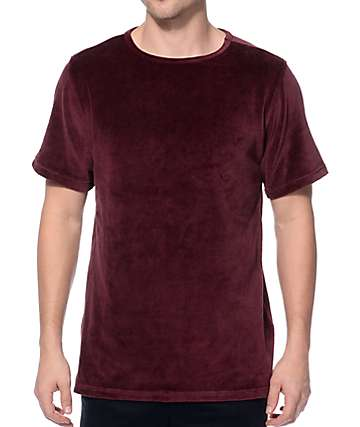 Elwood Velour Wine Split Hem Tall T-Shirt