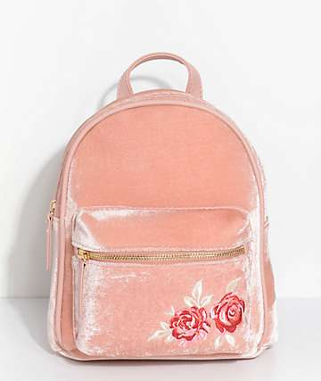 Embroidered Blush Pink Velvet Mini Backpack