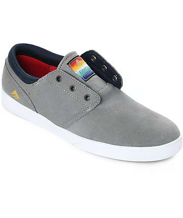 Emerica Figeuroa Grey, Navy & White Suede Skate Shoes