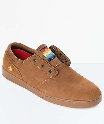 Emerica Figueroa Brown & Gum Suede Skate Shoes
