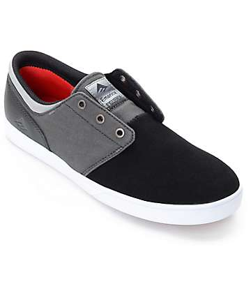 Emerica Figueroa Grey Canvas & Black Suede Skate Shoes