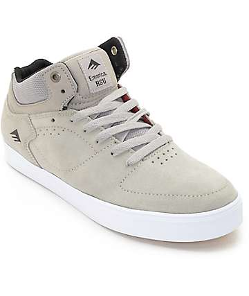 Emerica Hsu G6 Grey & White Suede Skate Shoes