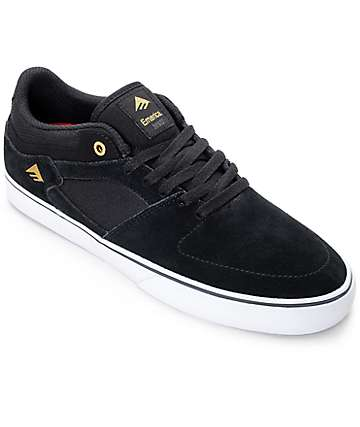 Emerica Hsu Low Vulc Black & White Skate Shoes