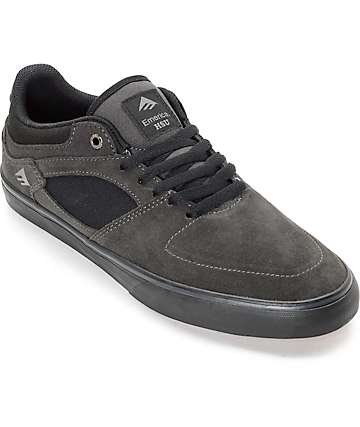 Emerica Hsu Low Vulc Grey & Black Suede Skate Shoes