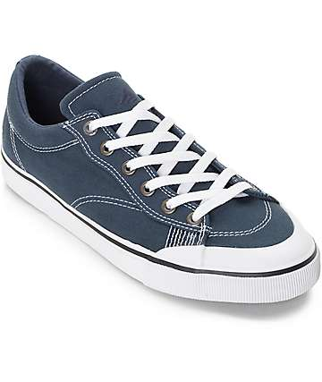 Emerica Indicator Low Navy & White Canvas Skate Shoes