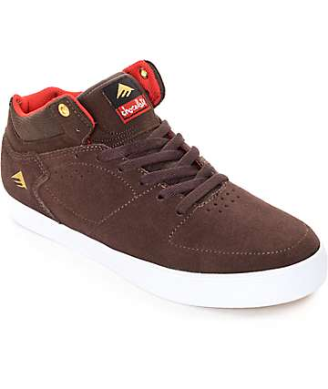 Emerica x Chocolate Hsu G6 Brown & White Skate Shoes
