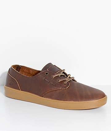 Emerica x Truman Romero Laced Reserved Brown & Gum Leather Skate Shoes