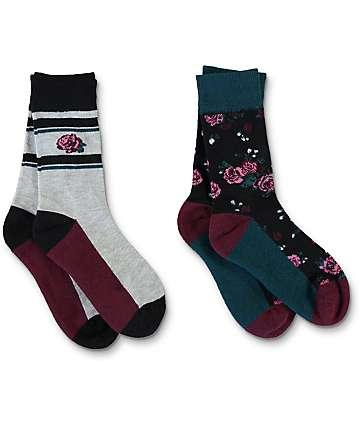 Empyre 2 Pack Floral Stripe Crew Socks