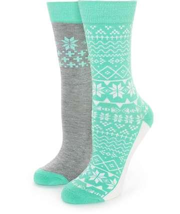 Empyre 2 Pack Heather Mint Fair Isle Crew Socks