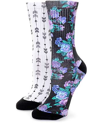 Empyre 2 Pack Moody Floral & Arrow Crew Socks
