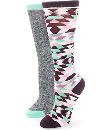 Empyre 2 Pack Multi Tribal & Speckle Boot Socks