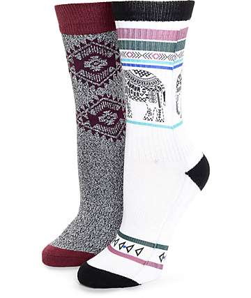 Empyre 2 Pack Peanut Elephant Tribal Crew Socks