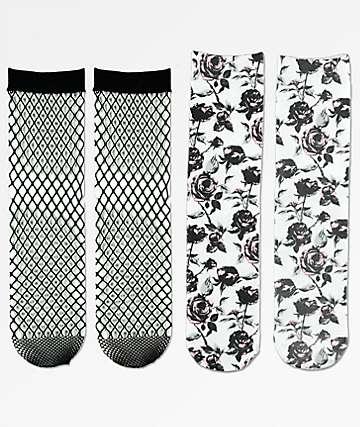Empyre 2 Pack Rose Fishnet Crew Socks
