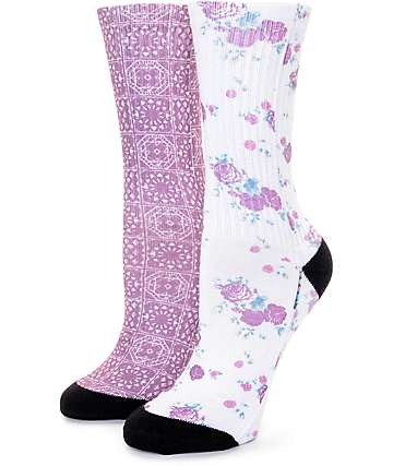 Empyre 2 Pack Tasha Floral & Blackberry Tile Crew Socks
