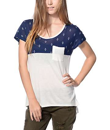 Empyre Abbott Navy Blue & White Dolman Top