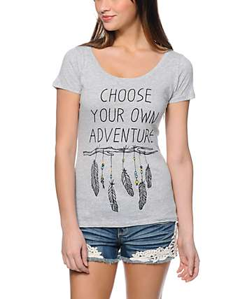 Empyre Adventure Heather Grey Scoop Neck T-Shirt