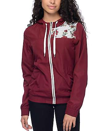 Empyre Akayla Burgundy Floral Striped Lined Windbreaker