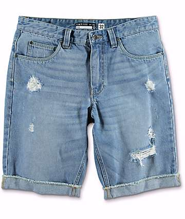 Empyre Albany Medium Wash Destroyed Denim Shorts