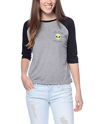 Empyre Alien Babe Heather Grey & Black Crop Baseball T-Shirt