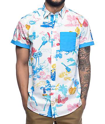 Empyre Aloha White & Blue Tropical Woven Shirt