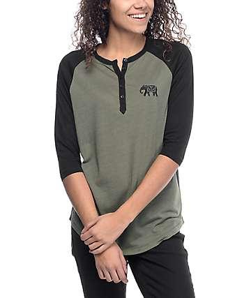 Empyre Amie Elephant Olive & Black Baseball T-Shirt