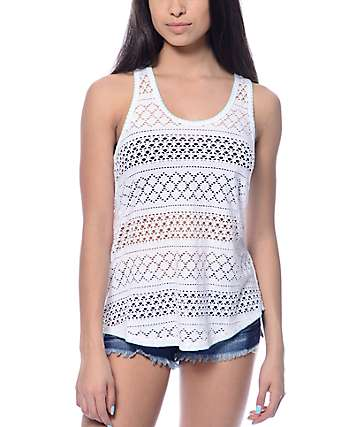 Empyre Anson White Crochet & Mint Stitch Braided Tank Top