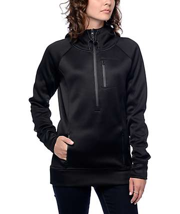 Empyre Antero chaqueta polar negra con media cremallera y capucha