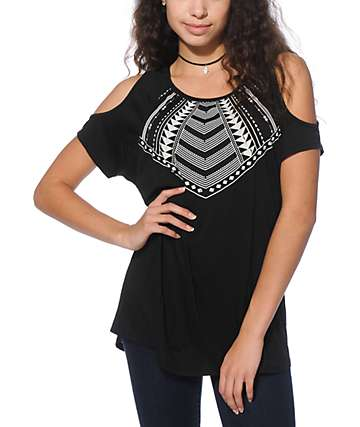 Empyre Antonio Black Tribal Cold Shoulder T-Shirt