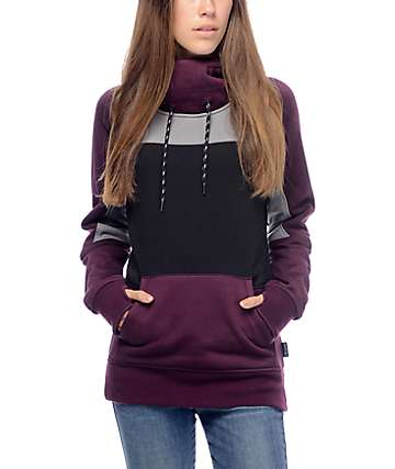 Empyre Anza Blackberry, Grey & Black Tech Fleece Hoodie