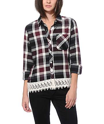 Empyre Artemis Crochet Trim Plaid Shirt