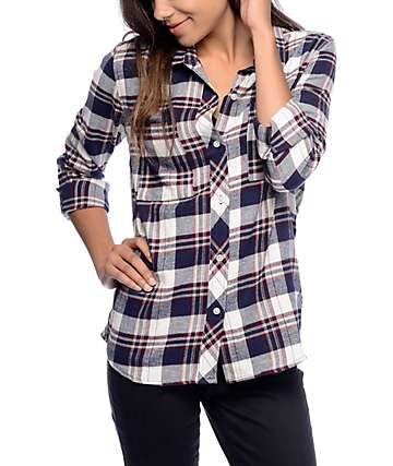 Empyre Ashton Blue Plaid Embroidery Flannel Shirt