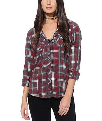 Empyre Astor red Crinkle Wash Hooded Flannel Shirt