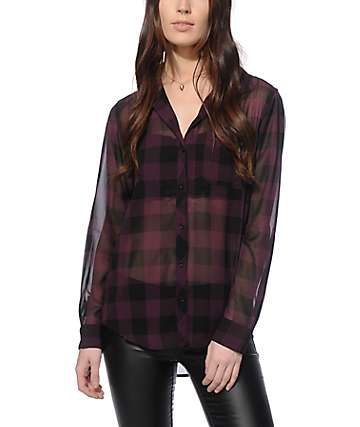 Empyre Athena Purple Plaid Chiffon Shirt